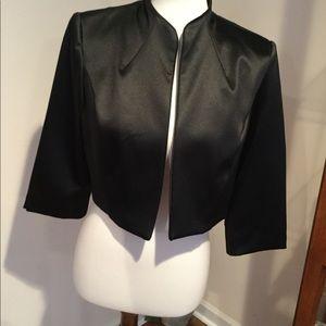 Dressbarn Collection Black Satin Evening Jacket